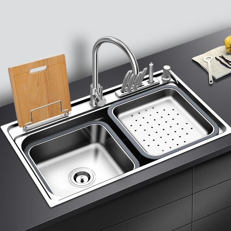 Fregadero de cocina de acero inoxidable con tabla de cortar, estante sobre encimera o montaje en U, fregadero de un solo tazón, fregadero para lavar vegetales, cocina
