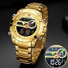 NAVIFORCE-Reloj de pulsera deportivo para hombre, cronógrafo de cuarzo dorado, resistente al agua, con pantalla Dual, 9163