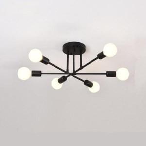 New Black White Living Room Chandeliers E27 Bulb LED Iron Chandelier Simple 6 head Lamps LED Lustre Chandeliers Lighting
