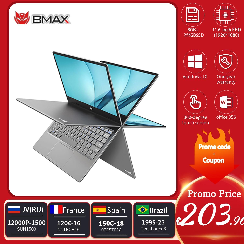 BMAX Y11 حاسوب محمول 11.6 بوصة رباعي النواة إنتل N4120 N4100 1920*1080 IPS شاشة 8GB LPDDR4 RAM 256GB SSD ROM حاسوب محمول Windows10