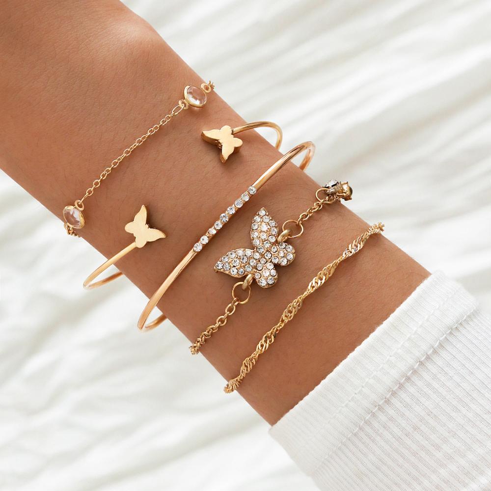 Yobest bohème strass papillon Bracelets élégant manchette Bracelet pour les femmes couleur or chaîne Bracelet ensembles Vintage Boho bijoux