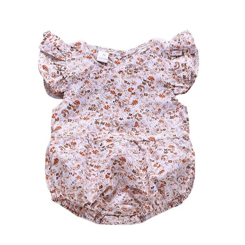 Летние Детские комплекты одежды для маленьких девочек, с рукавами-крылышками; С цветочным принтом; Верхняя одежда для детей Детская одежда ...