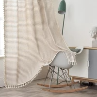 cotton linen beige stripe tassel curtain country style window hanging blackout curtains for living room easy drape for window