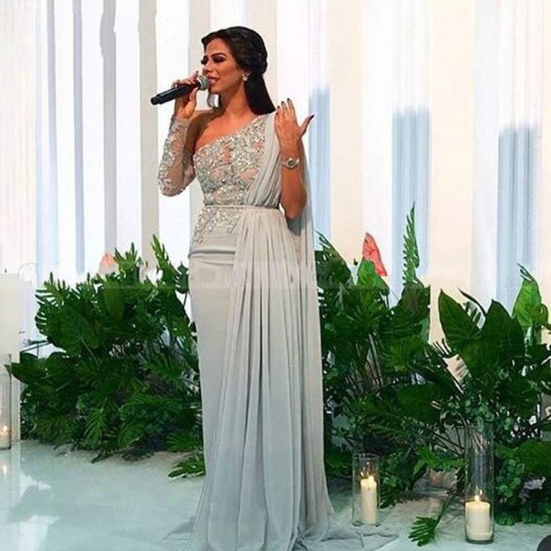 2020 Arabic Silver/Grey One Shoulder Long Sleeve Dubai Evening Dress with Cape Lace Appliques Chiffon Long Celebrity Prom Dress