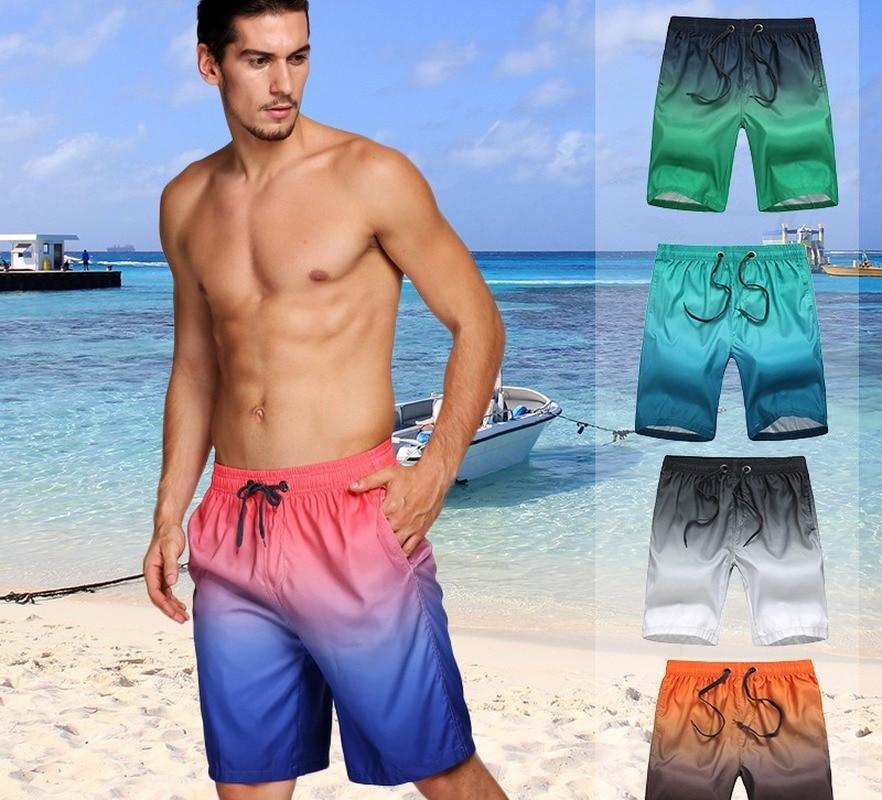 Новинка 2021, пятиконечные мужские пляжные шорты, плавки, плавки с градиентом, свободные плавки, быстросохнущие летние пляжные шорты