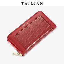 tai li an tailian Europe and America Big Brand-Style Crocodile Pattern Womens Wallet Large Capacity Multi Card Bit Zipper Handb