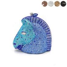 Tier designer tasche frauen abend party tasche diamant luxus pferd kopf kristall geldbörsen braut hochzeit party kristall kupplungen