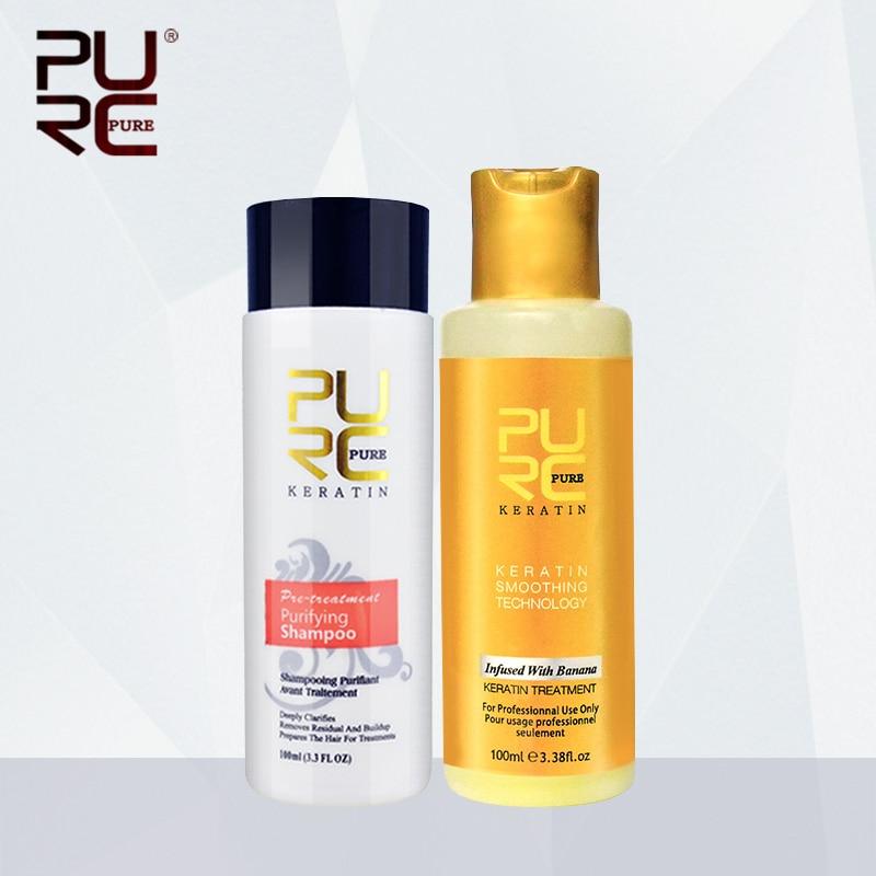 Pele PURC 12% 100ml sabor de Banana Conjunto tratamento de queratina Brasileira Alisamento Reparar os danos do cabelo seco cabelo para o Cuidado Do Cabelo Conjunto