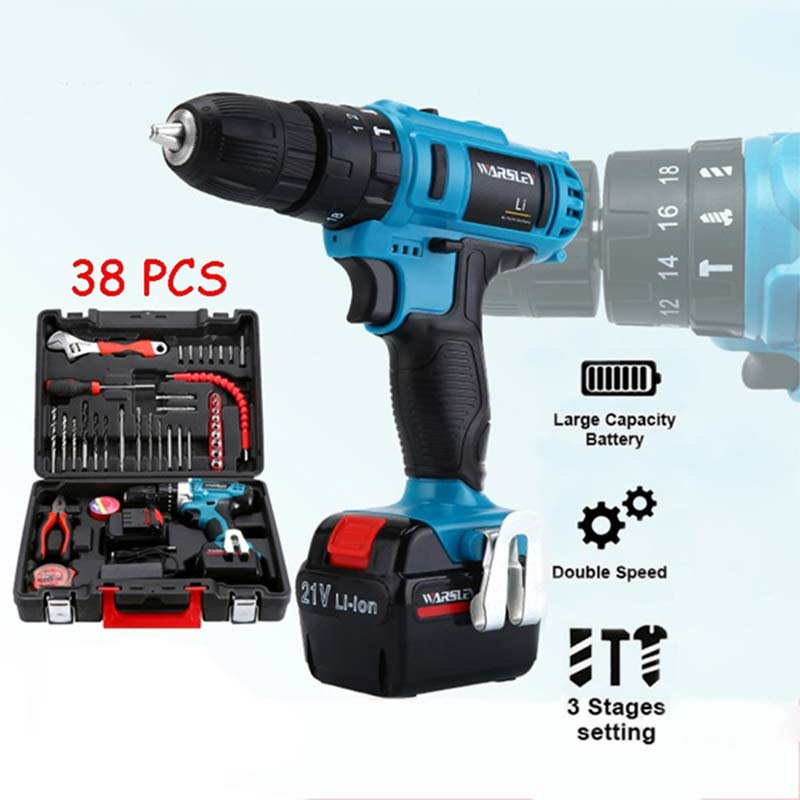 21V Lithium Electric Drill Rechargeable Hand Electric Drill Impact Drill Pistol Drill Electric Screwdriver Household Tool Set