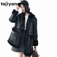 women coat winter tops 2021 real fur coat wool jacket korean genuine leather jacket women double faced fur coats slim fit zt432