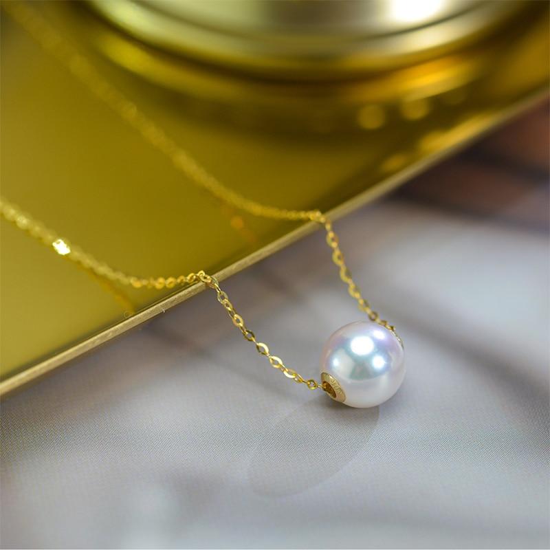 قلادة من اللؤلؤ الذهبي عيار 18 قيراطًا ، عقد من لؤلؤ أكويا الطبيعي ، سلسلة من الذهب الأصفر ، مجوهرات راقية