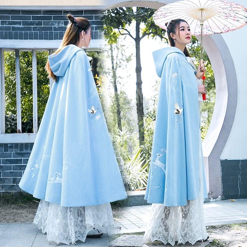 Capa de ropa china Han capa tipo capa Mujer Súper Hada arcaica larga capa con patrón tipo Otoño e Invierno