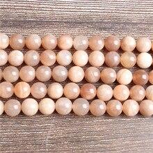 LanLi модные натуральные ювелирные изделия, Оранжевые Бусины SunStone, 4, 6, 8, 10, 12 мм, подходят для браслета, ожерелья, аксессуары