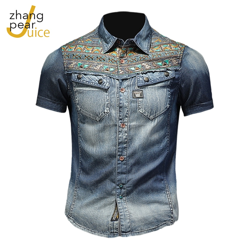 Мужские джинсовые рубашки, рубашки с коротким рукавом, мужская повседневная Летняя одежда, топы, тонкие хлопковые мужские рубашки
