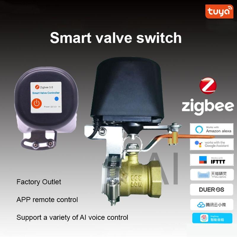 diy casa inteligente tuya zigbee torneira de agua interruptor da valvula gas sem