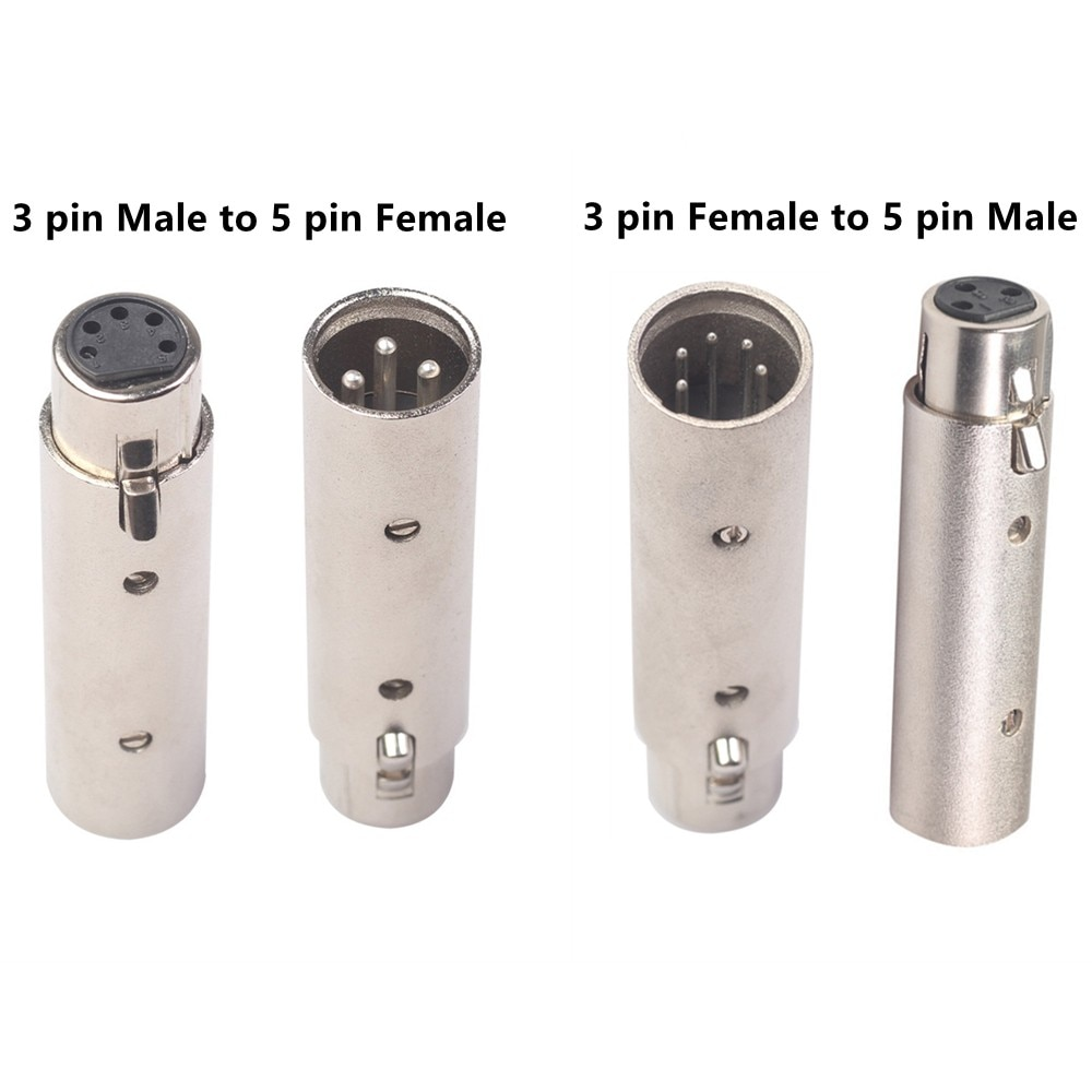 3Pin XLR To 5Pin DMX Metal Cased Converter Audio Lighting Adapter 3 Pin Male To 5 Pin Female 3 Pin Female To 5 Pin Male Connect аксессуар baseus lightning male to 3 5mm female adapter l3 5 black call3 01