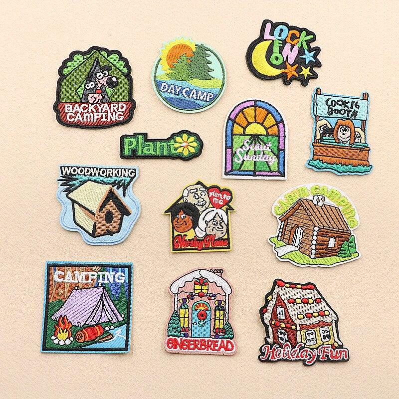 Un juego de parches bordados con diseño de caballo, letras, Luna, ventana, estrella, dibujos animados, parches para bolso, sombrero, insignias apliques, parches para ropa VP-148