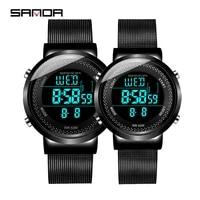 sanda luxury brand new black mesh belt mens electronic watch simple trend 50m waterproof wristwatches women couple watches
