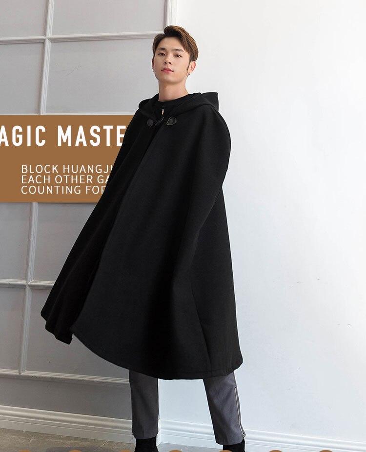 Hooded cloak long over the knee Japan and Korea fashion retro sleeveless autumn and Winter Tide Wizard Coat Cape