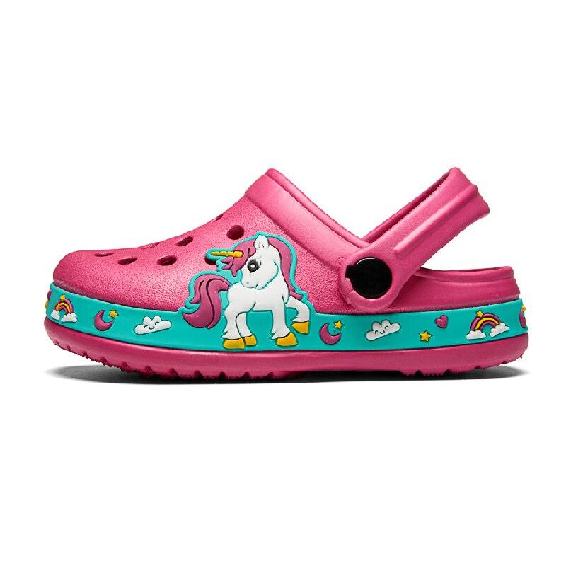 Кроксы Детские с единорогом, мягкие сандалии для сада и пляжа, Нескользящие, для дома и улицы, летняя обувь для малышей Мюли и сабо    АлиЭкспресс