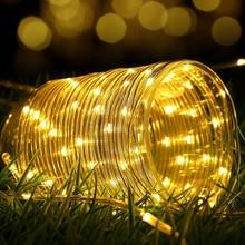Solar Light 7M 50leds Waterproof Rope Tube Led String light Outdoor Christmas Garden Yard Path Fence Tree Backyard decoratio