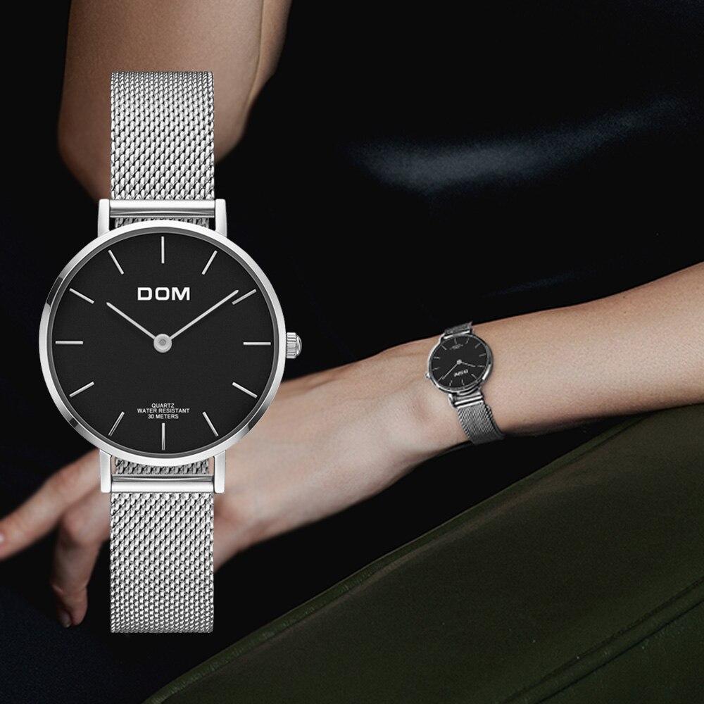 دوم الشظية شبكة الفولاذ المقاوم للصدأ الساعات النساء أعلى العلامة التجارية الفاخرة عارضة ساعة السيدات المعصم ووتش Relogio Feminino G-36D-1M