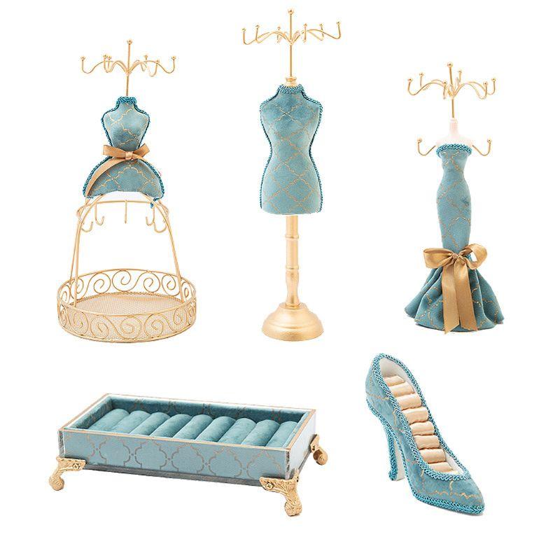 Soporte para anillo de zapatos 2020 5 uds., soporte de joyería de princesa, modelo de vestido humano, estante de tacones altos 83XF