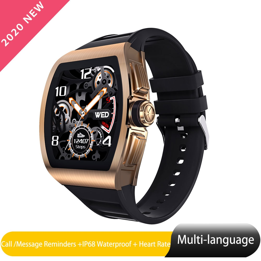 M1 Smart Watch Men Heart Rate Monitor Sport Watch Gold 1.4inch IPS Alloy Case IP68 Waterproof Smartwatch For Android IOS Phone