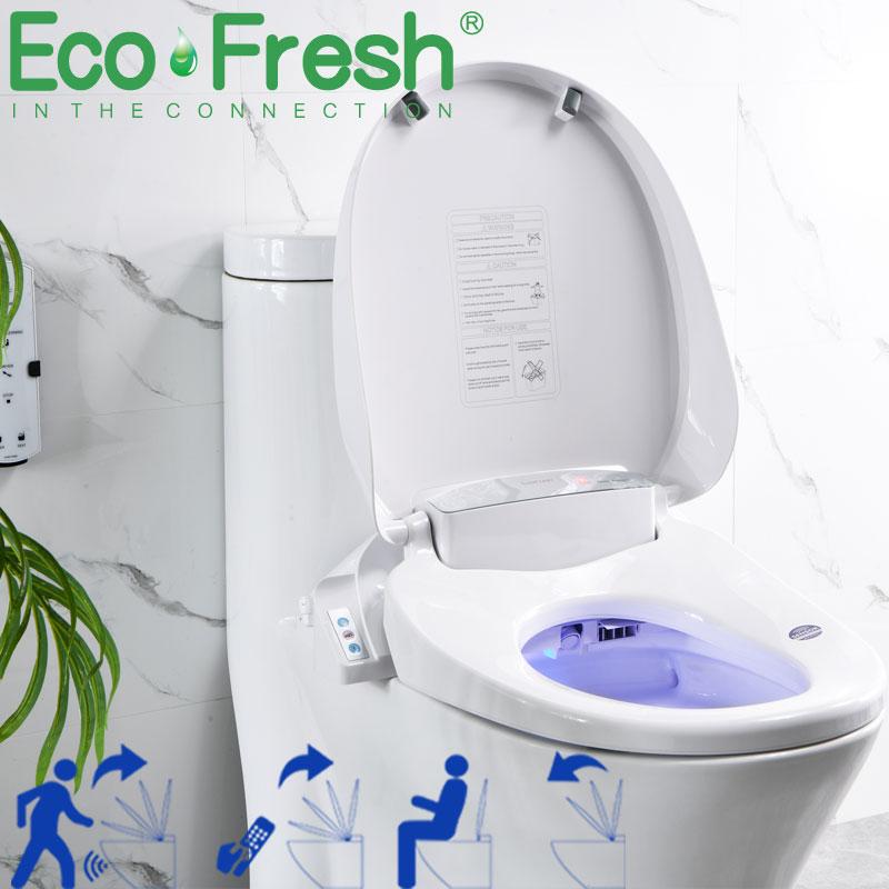 EcoFresh-مقعد مرحاض ذكي ، قطعة واحدة ، غطاء مقعد أوتوماتيكي ، فتحة قابلة للطي ، بيديت إلكتروني ، غطاء مرحاض ساخن