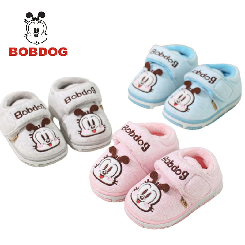 Bobdog winter new baby bag with non-slip anti-kick cotton slippers indoor and outdoor 1-3 years old home children's warm shoes