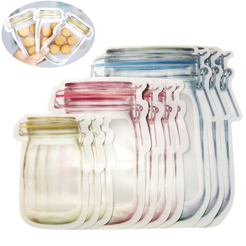 10PCS Reusable Mason Jar Flaschen Taschen Muttern Candy Cookies Tasche Dichtung Frische Lebensmittel Lagerung Tasche Snacks Zipper Versiegelt Küche veranstalter