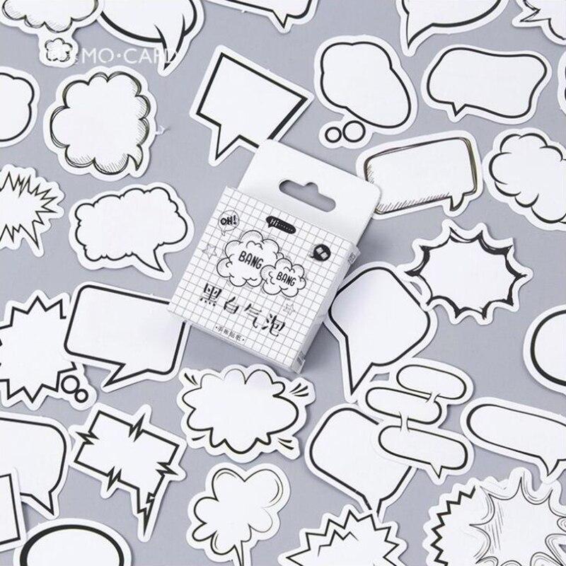 45 unids/pack burbuja negra llamada patrón pegatinas adhesivas decoración caja Scrapbook de...