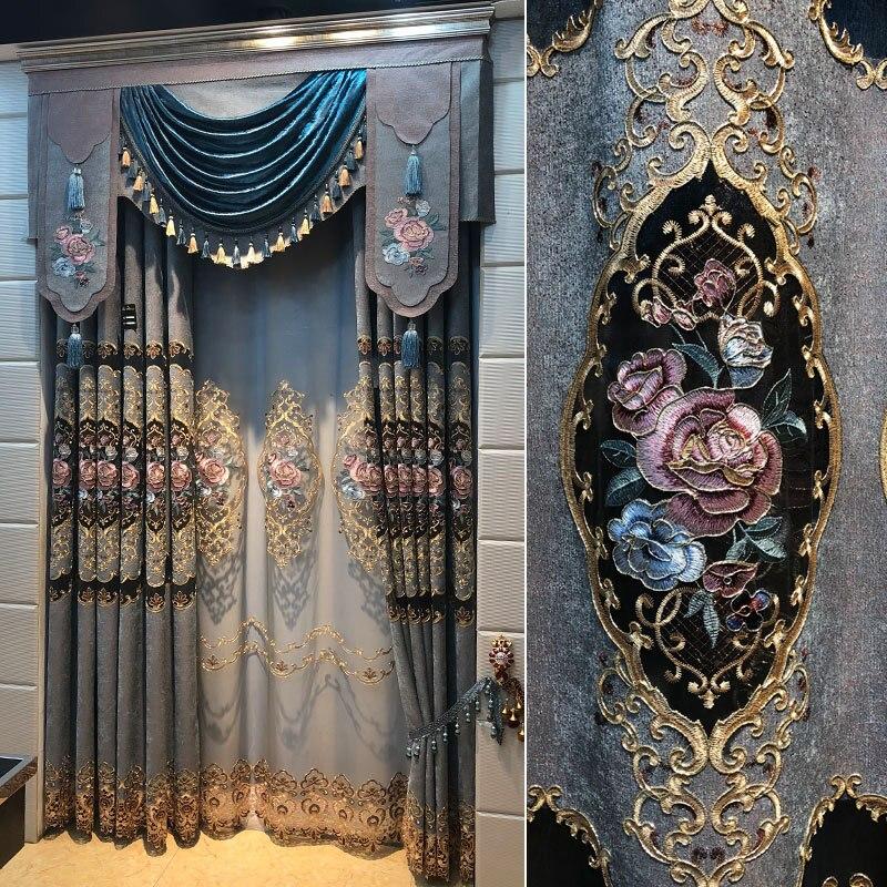 Cortinas para sala de estar de lujo con luz personalizada, cortina de chenilla bordada en seda dorada con agujeros para el acabado para dormitorio, producto