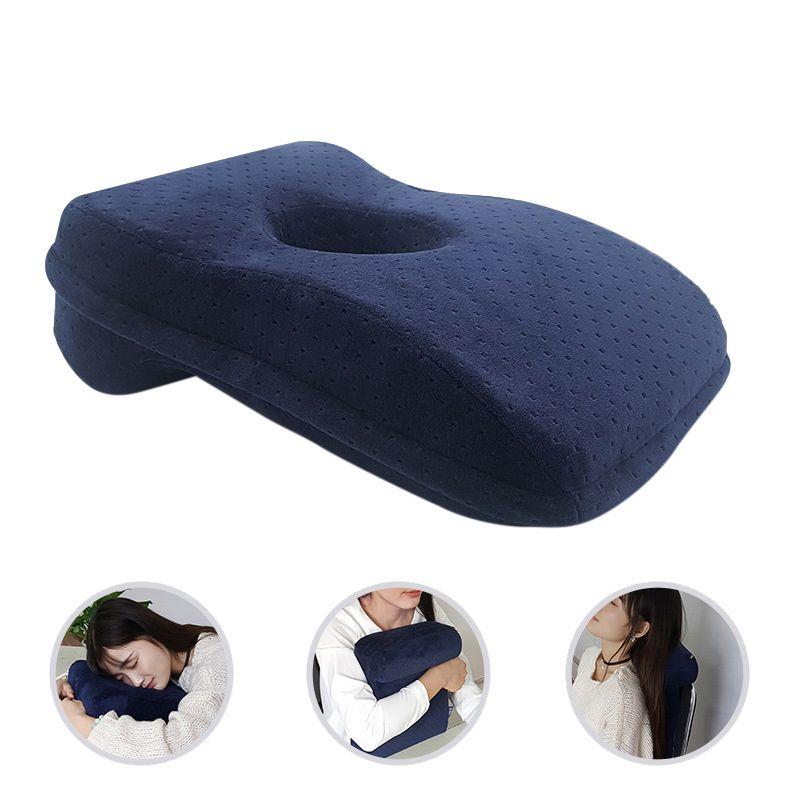 Cojín almohada para dormir Nap 2020, almohada de espuma de memoria de rebote lento, almohada de escritorio con diseño hueco para dormir boca abajo