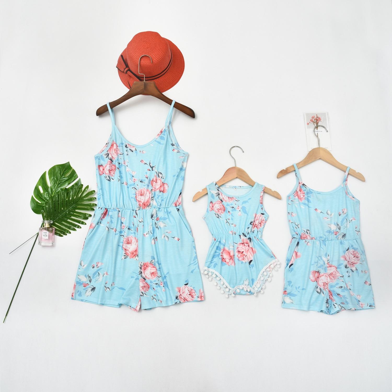 Summer Baby Romper Girl Dress Women Jumpsuit Dress  Mother Daughter Dresses Family Matching Clothes