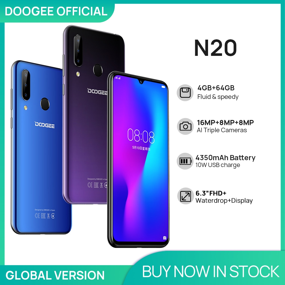 DOOGEE N20 Mobilephone Fingerprint 6.3inch FHD+ Display 16MP Triple Back Camera 64GB 4GB MT6763 Octa Core 4350mAh Cellphone LTE