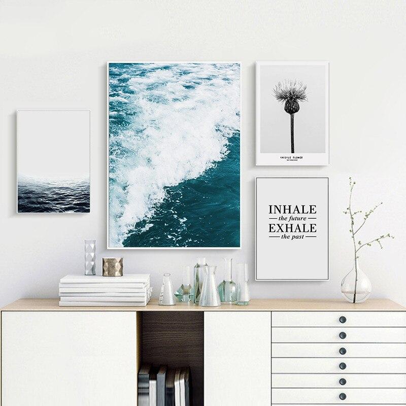 Deniz manzarası boyama Modern ev dekor metin çiçek karahindiba duvar tuvali boyama modüler resim boyama posterler ve baskılar sanat