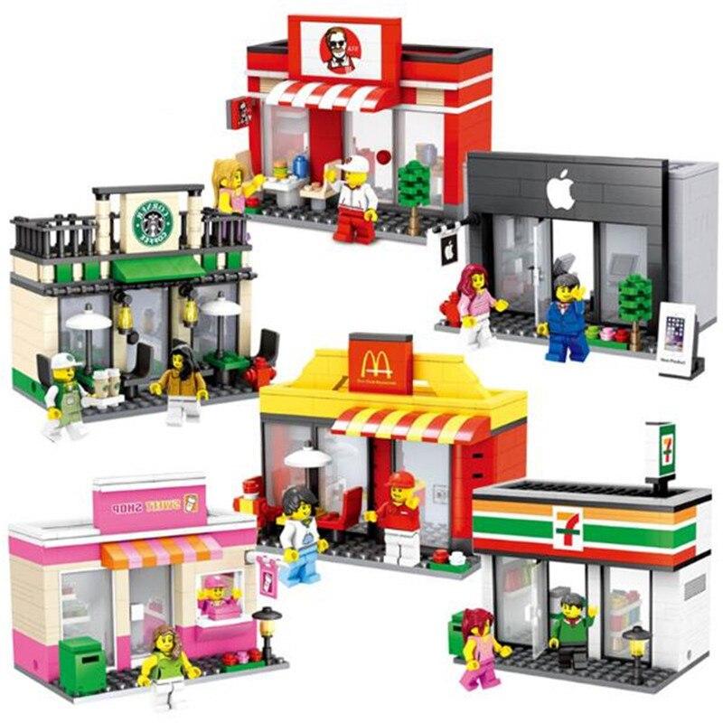Cidade mini série qualidade apple e loja modelo blocos de construção crianças brinquedos compatíveis com lepining