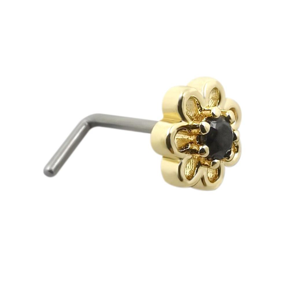 JHJT 20 جرام الأنف ترصيع G23 التيتانيوم زهرة شكل مكعب زركونيا الأنف ترصيع الأنف الدائري ثقب المجوهرات