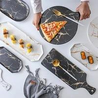 white black golden ceramic dishes and plate pizza dessert steak tableware decorative food tray dinner set porcelai