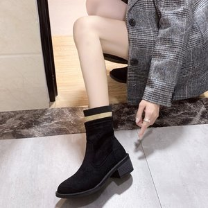Women's Boots Fashion British Style New Autumn Winter Handsome Motorcycle Women's Boots Black Ankle Boots Stretch Fabric Shoes