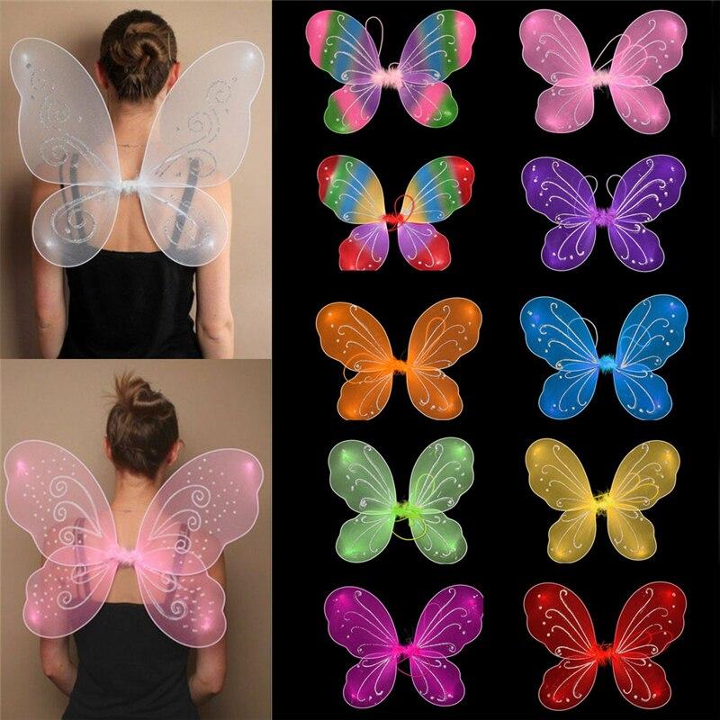 10 colores caliente princesa niños chica alas de hada mariposa vestido traje de fiesta de chicas vestido vendaje señoras fiesta Prop