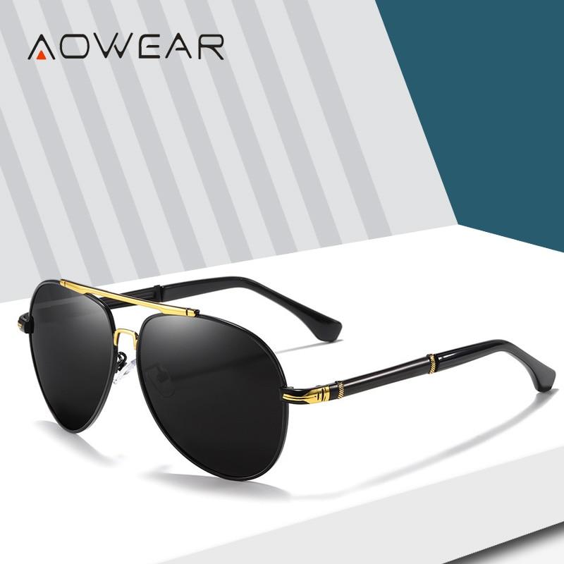 AOWEAR Brand Designer Aviation Mens Sunglasses Polarized Driving Mirror Vintage Sun Glasses Men Clas