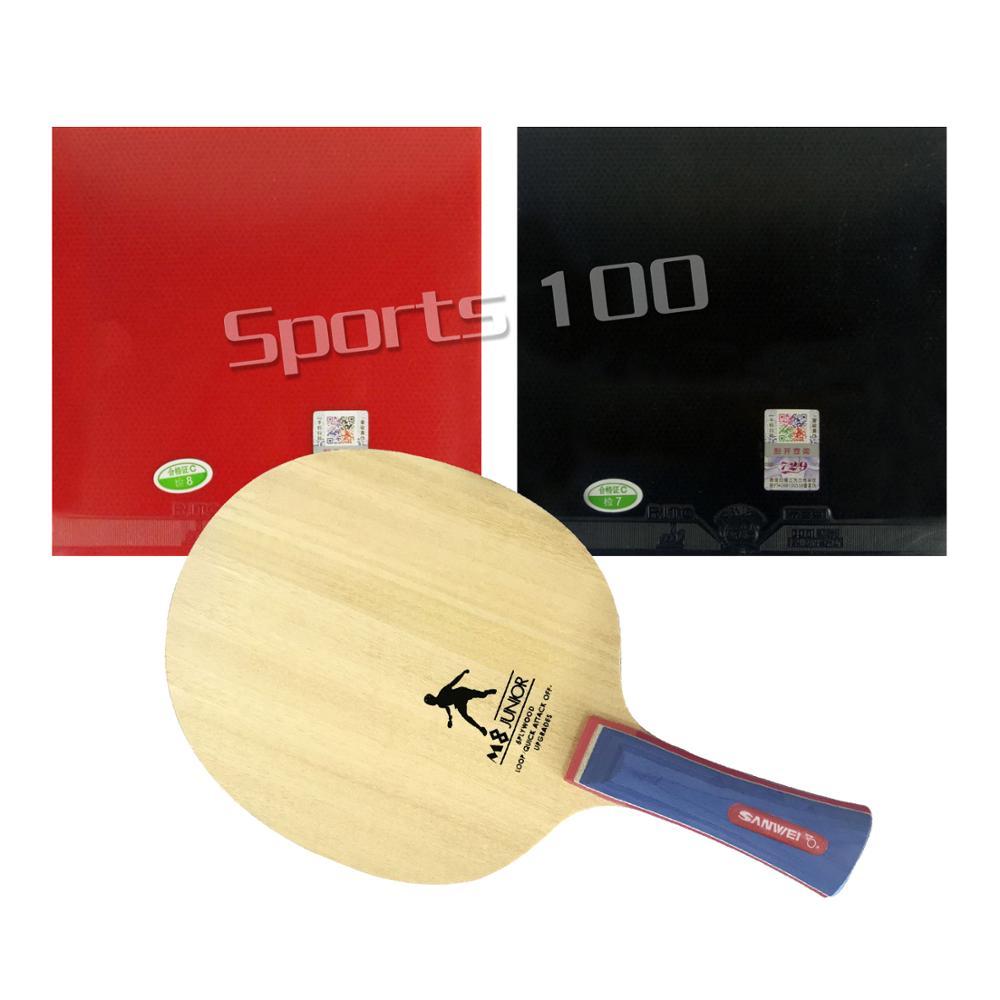 Pro Combo raqueta Sanwei M8 con 2x729 General tenis de mesa de goma con esponja para una paleta larga Shakehand FL
