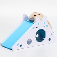 hamster hideout cute hamster exercise toy wooden hamster house with ladder slide for guinea pig hamster accessories hamster cage