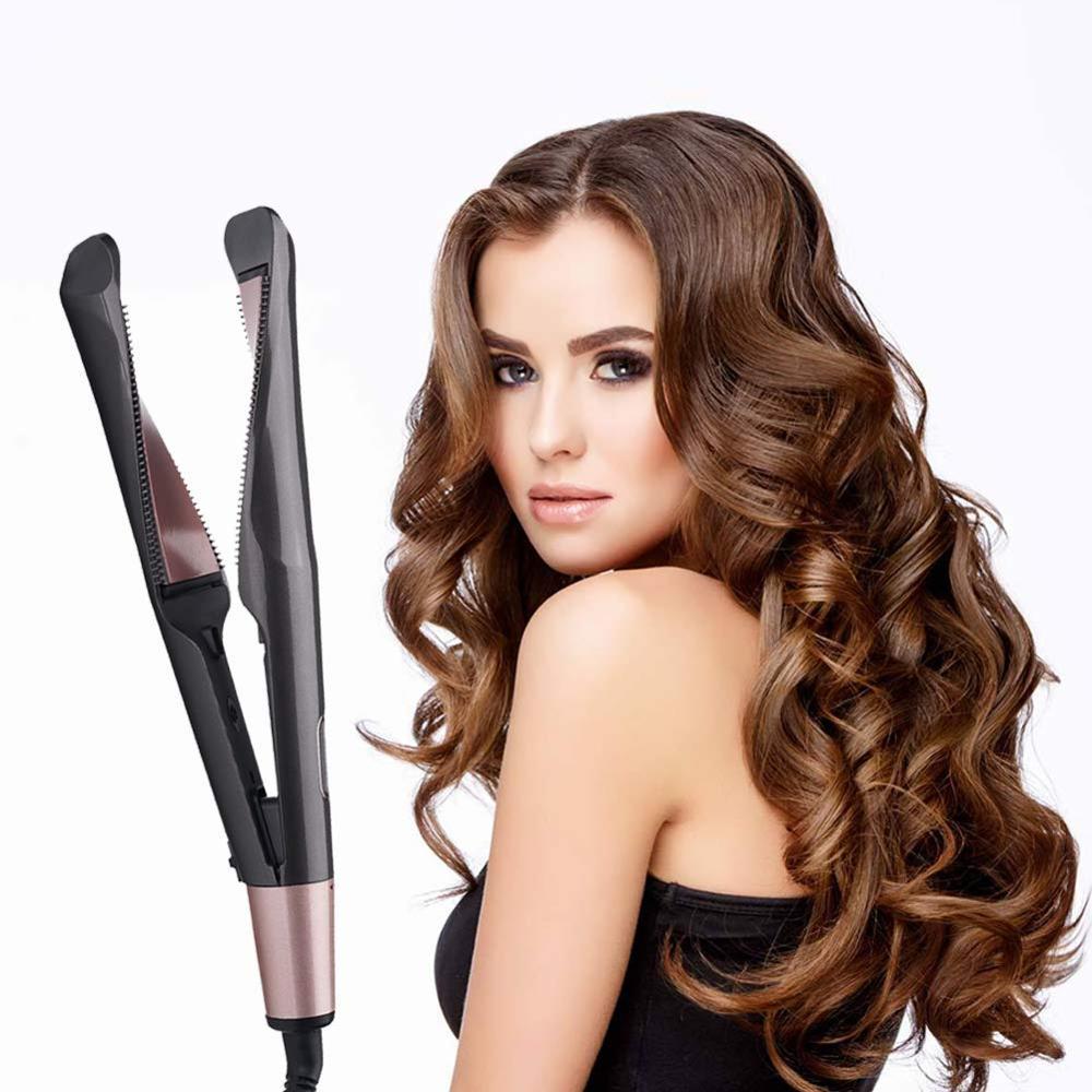 2 в 1, золотистые утюжки для завивки волос, утюжки для быстрого выпрямления, магический выпрямитель для волос, бигуди, Прямая поставка