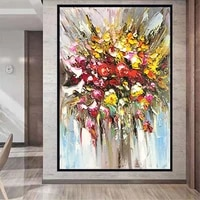 modern minimalist decor oil painting hand flower red yellow orange flower canvas painting wall art picture for living room decor