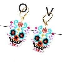 fairywoo miyuki beaded earrings handmade luxury jewelry for woman bohemian skeleton drop earrinng eye gifts for friendship pearl