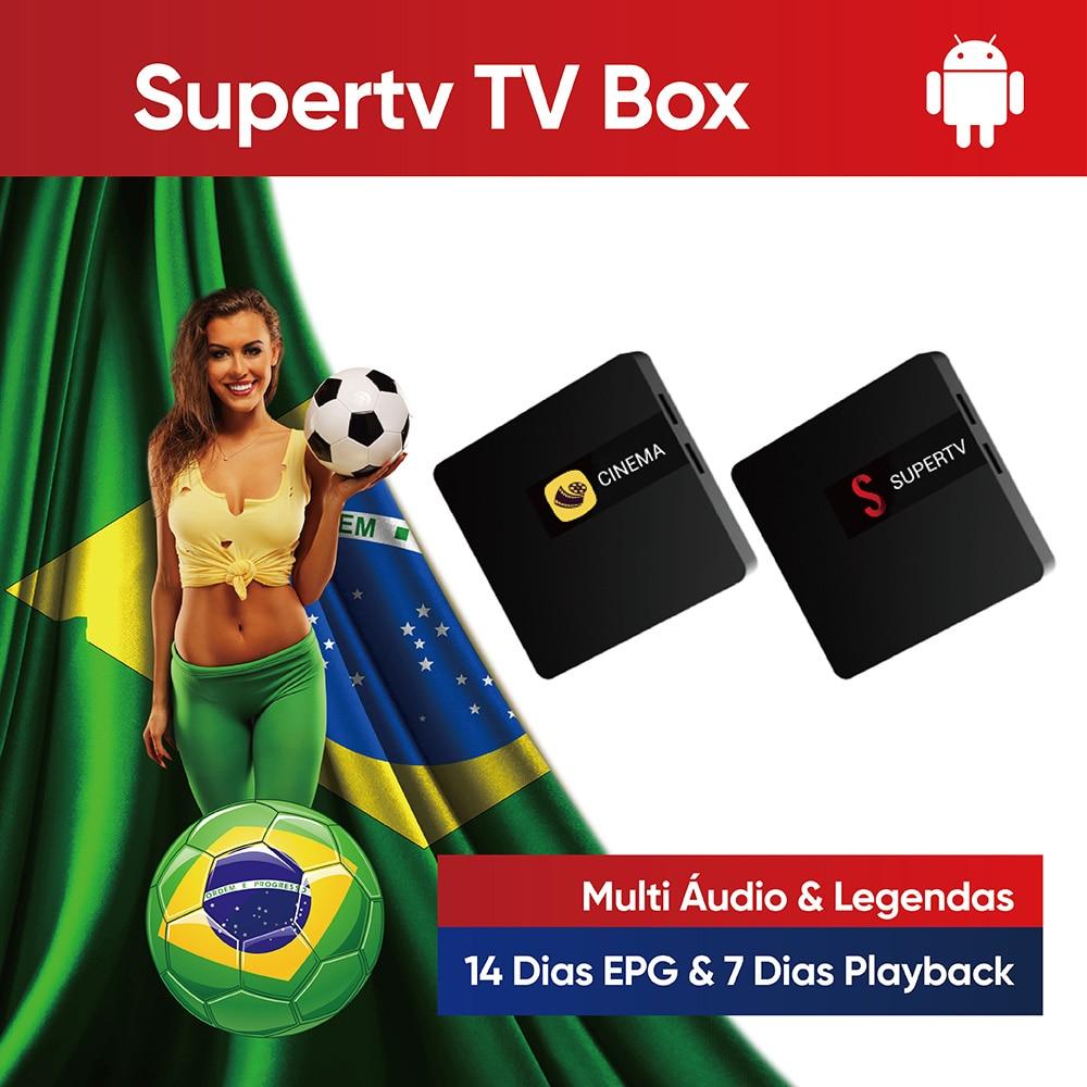 Supertv TV Box 3m Brazil Android Tv Box EPG Playback Kids Protection Password Brasil 4K HD tv Box Family Video Box