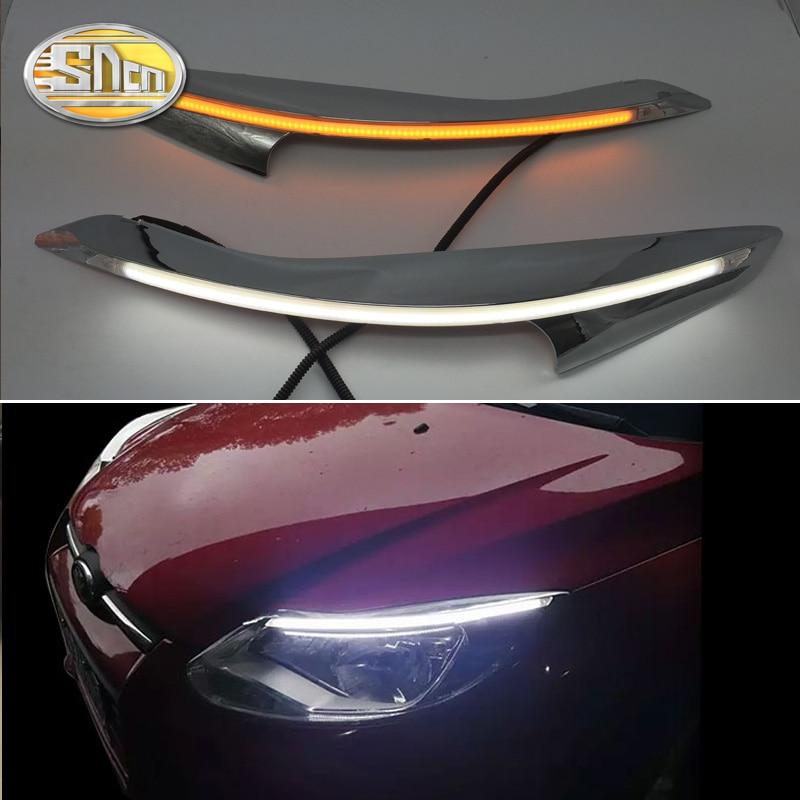 Para Ford Focus 3 MK3 2012 ~ 2015 LED faro ceja luz diurna DRL con luz intermitente amarilla